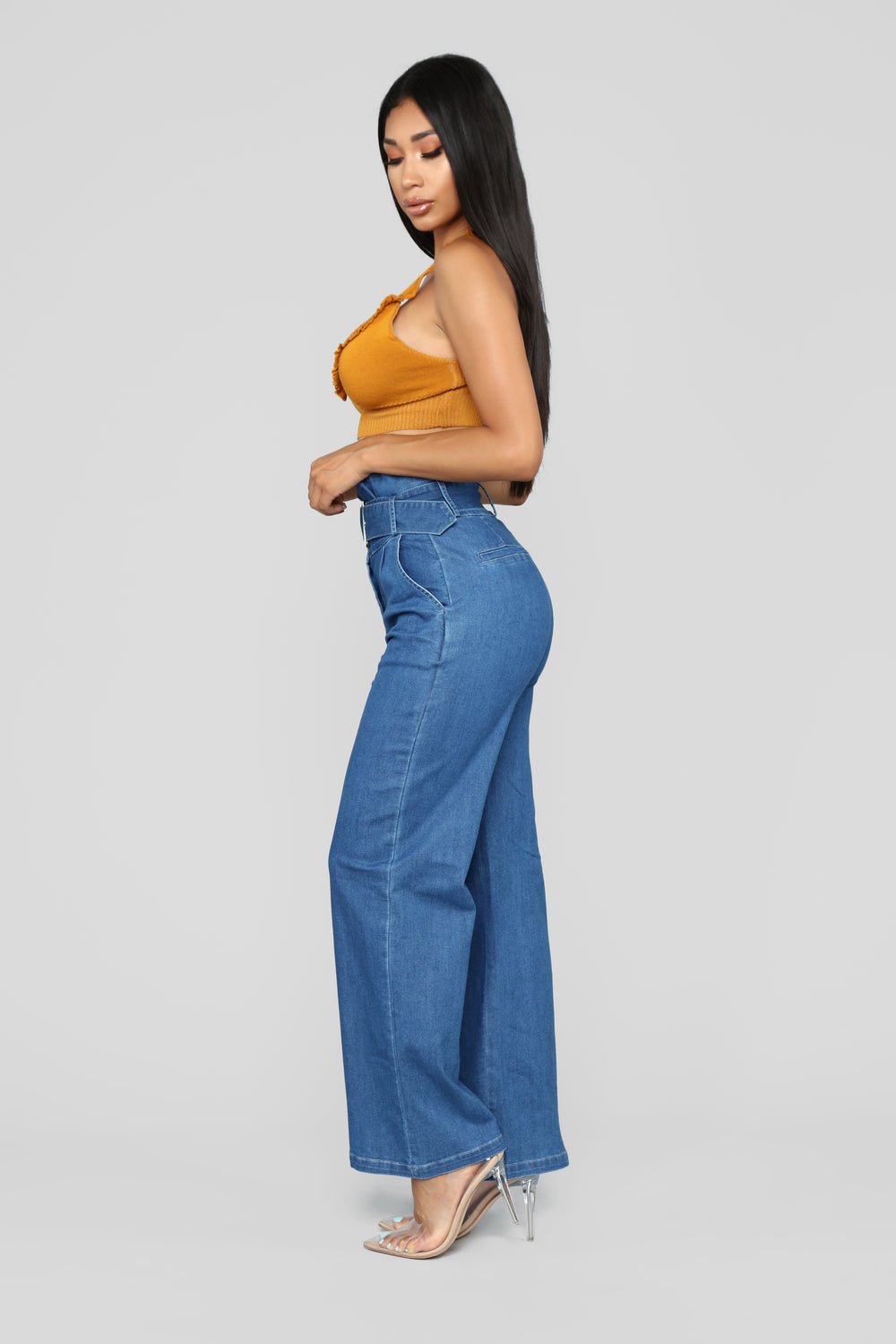 One Kiss Wide Leg Jeans - Medium Blue Wash