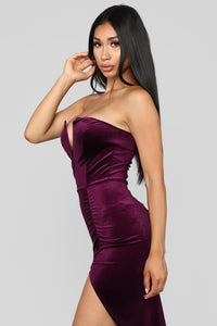 Sultry Night Velvet Dress - Purple