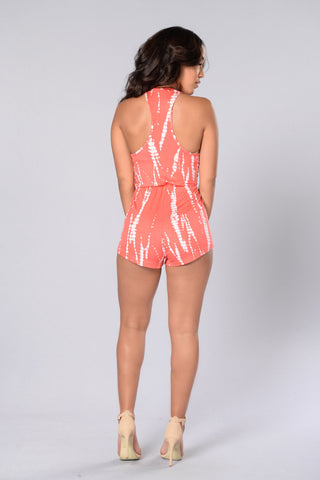 Drawn To You Romper - Coral