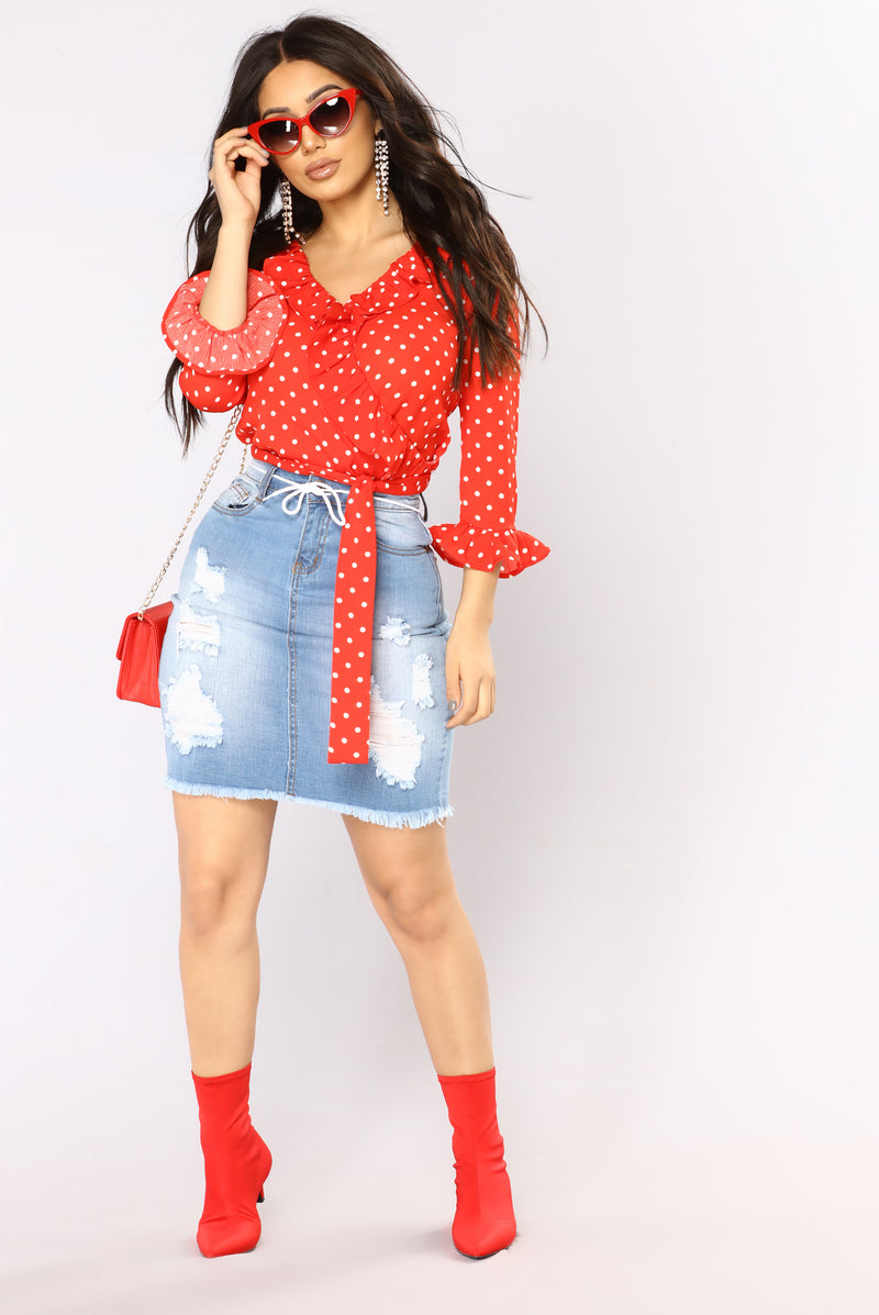 Lady Like Ruffle Top - Red
