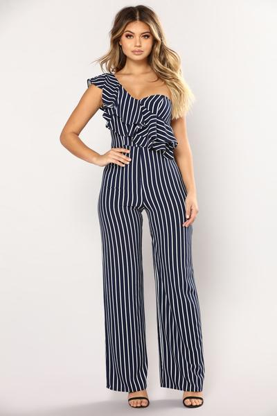 Straight Line Stripe Jumpsuit - Navy