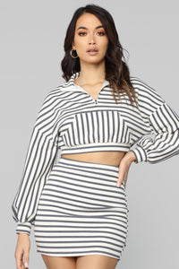 Suzanne Striped Skirt Set - Ivory/Blue