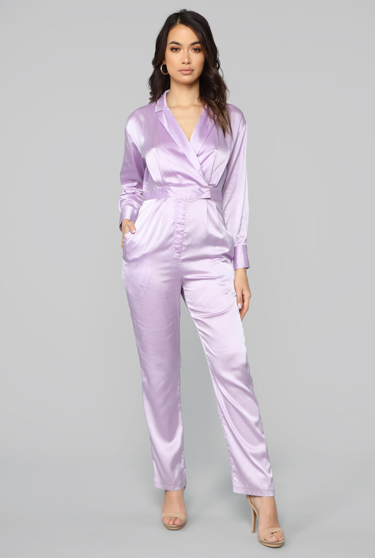 Smooth Move Satin Jumpsuit - Lavender
