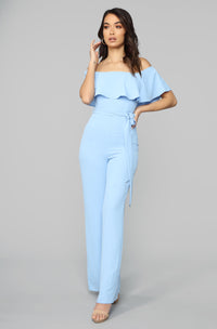Pretty Girl Flounce Wide Leg Jumpsuit - Light Blue