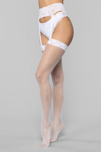 Leilani Fishnets Garter Belt Stockings - White
