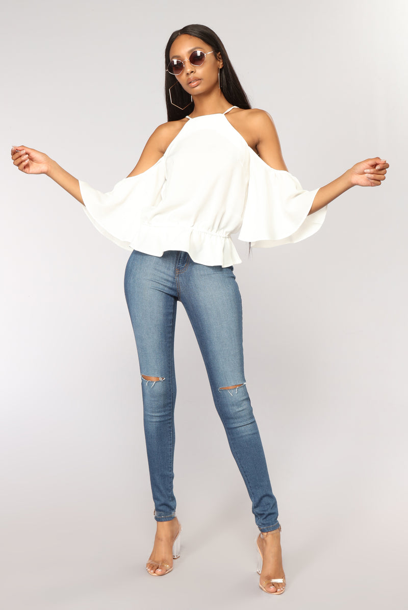 Like Always Cold Shoulder Top - Off White