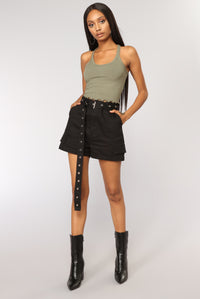 Sweet Times Cropped Tank - Olive Angle 2