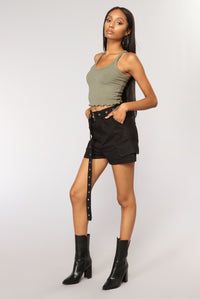 Sweet Times Cropped Tank - Olive Angle 3