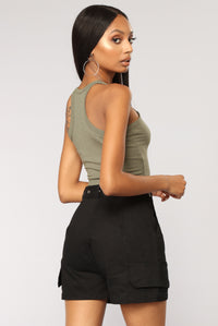 Sweet Times Cropped Tank - Olive Angle 6