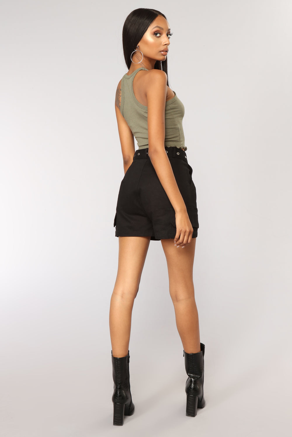 Sweet Times Cropped Tank - Olive