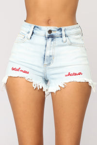 What A Mess Denim Shorts - Light Blue Wash