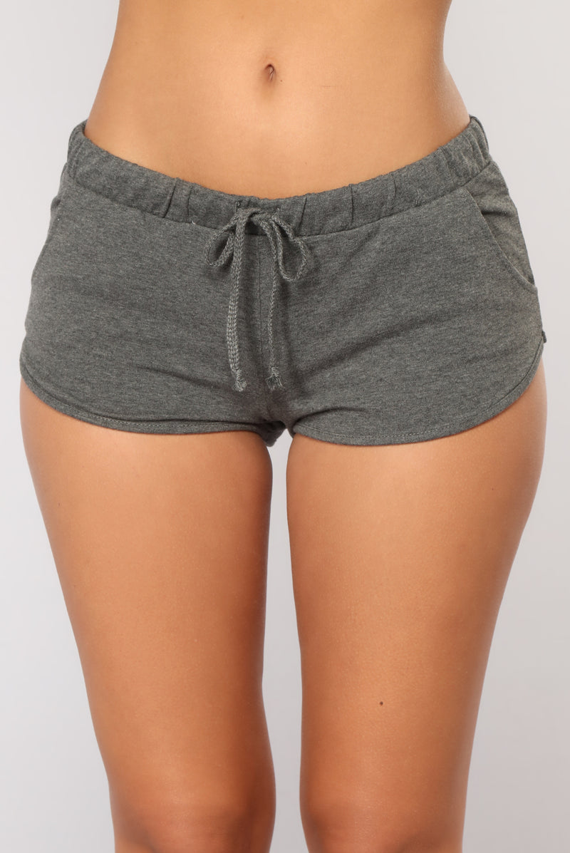 Just Chillin Dolphin Shorts - Charcoal