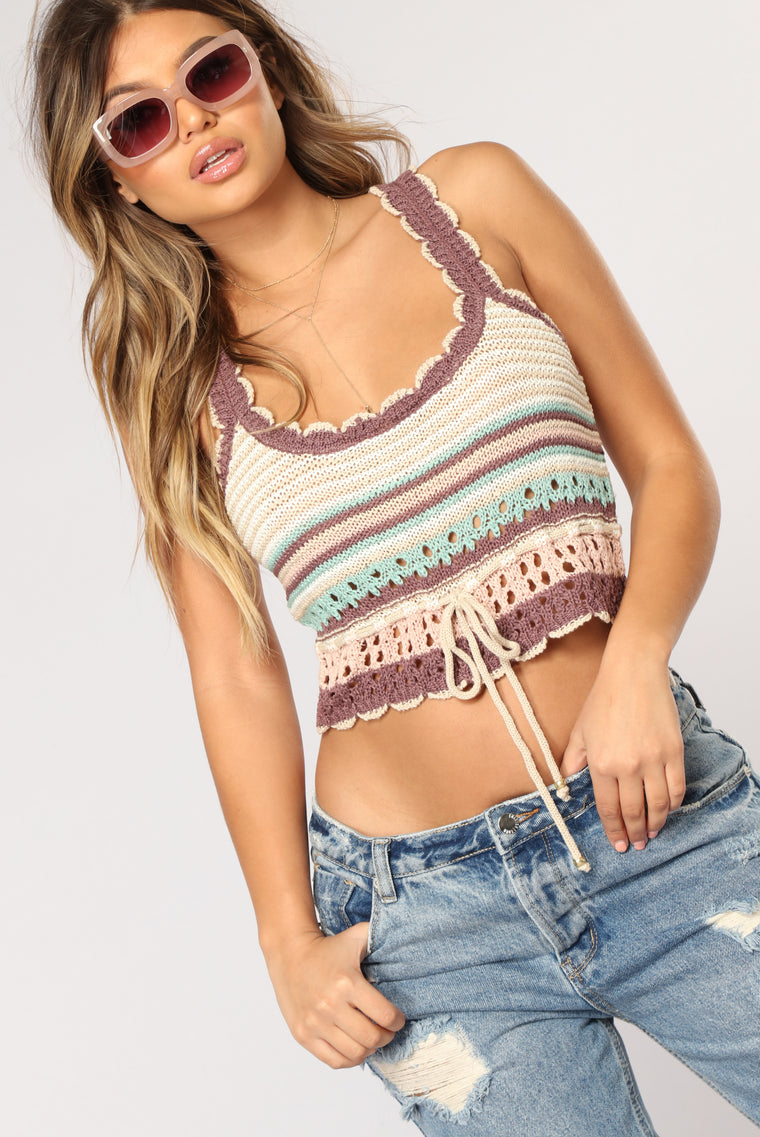 Lexie Crochet Top - Cream/combo