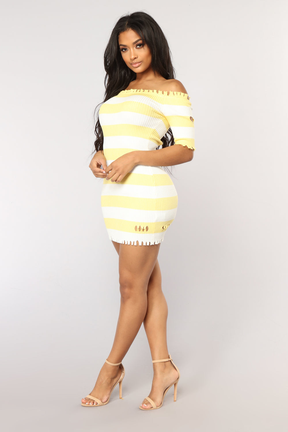 Girl Without Limits Striped Dress - Yellow
