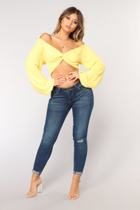 Sunshine Smile Crop Top - Yellow