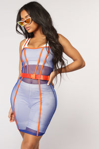 Ignition Mesh Dress - Royal/Orange