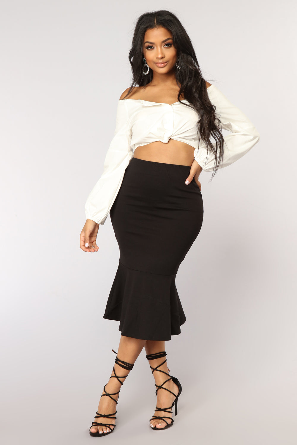 Theresa Ruffle Midi Skirt - Black