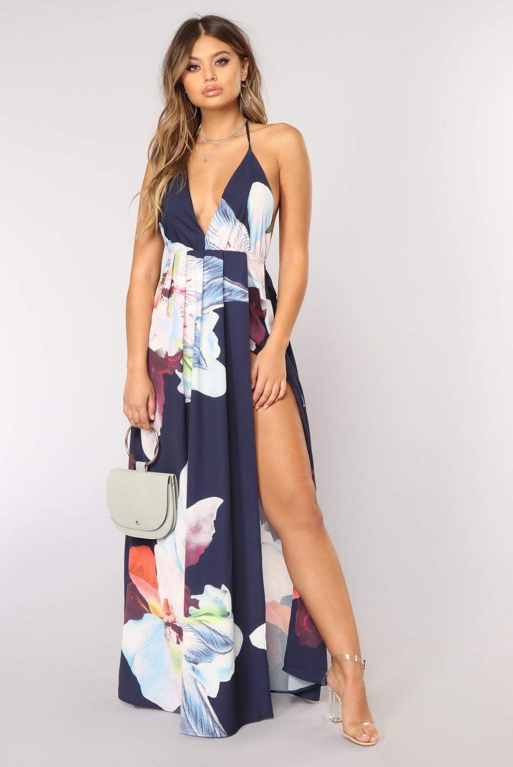 Flowers In The Breeze Maxi Dress - Navy