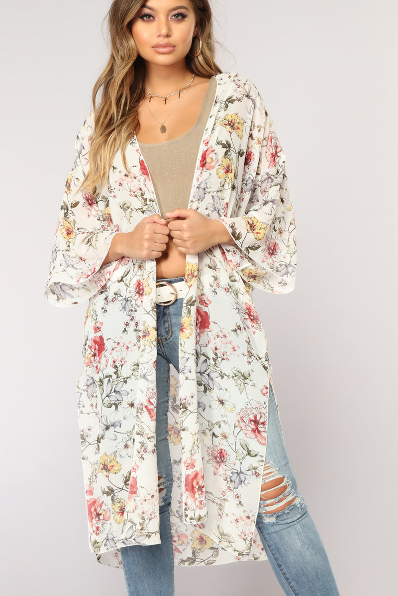 Amber Floral Kimono - Ivory/Floral