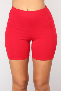 Classic Mini Biker Shorts - Red Angle 3