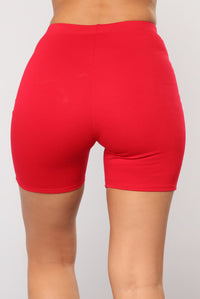 Classic Mini Biker Shorts - Red Angle 6