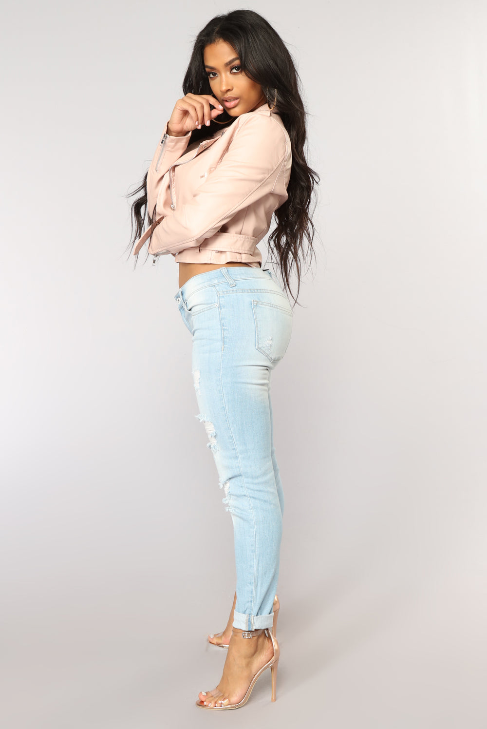 Nothing On You Distressed Jeans - Light Blue