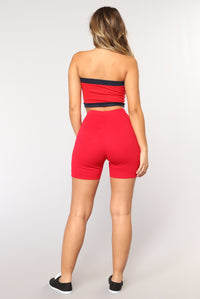 Classic Mini Biker Shorts - Red Angle 5