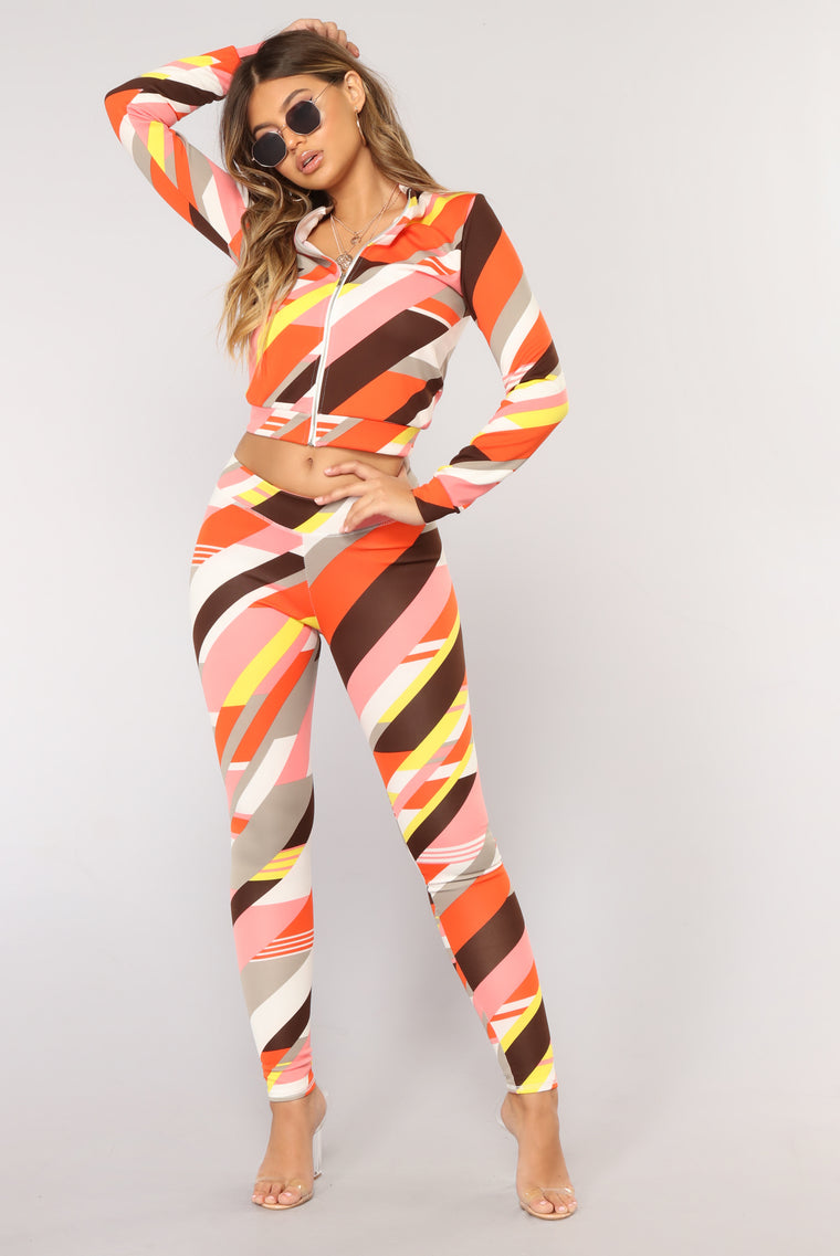 Mod Block Leggings - Orange/Multi
