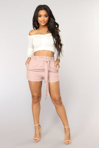 Killing It Paperbag Waist Shorts - Mauve