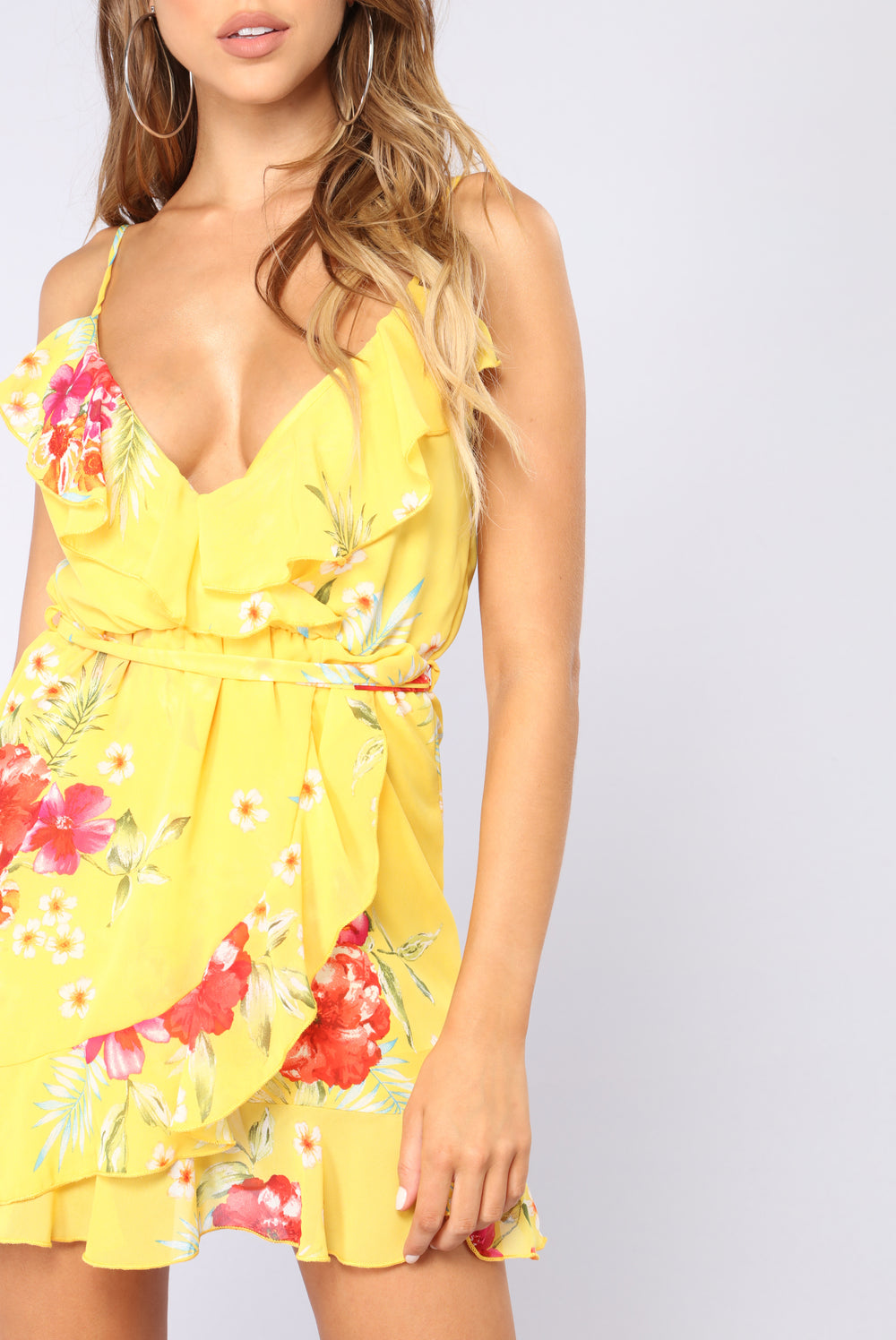 Flower Child Vibes Ruffle Dress - Yellow