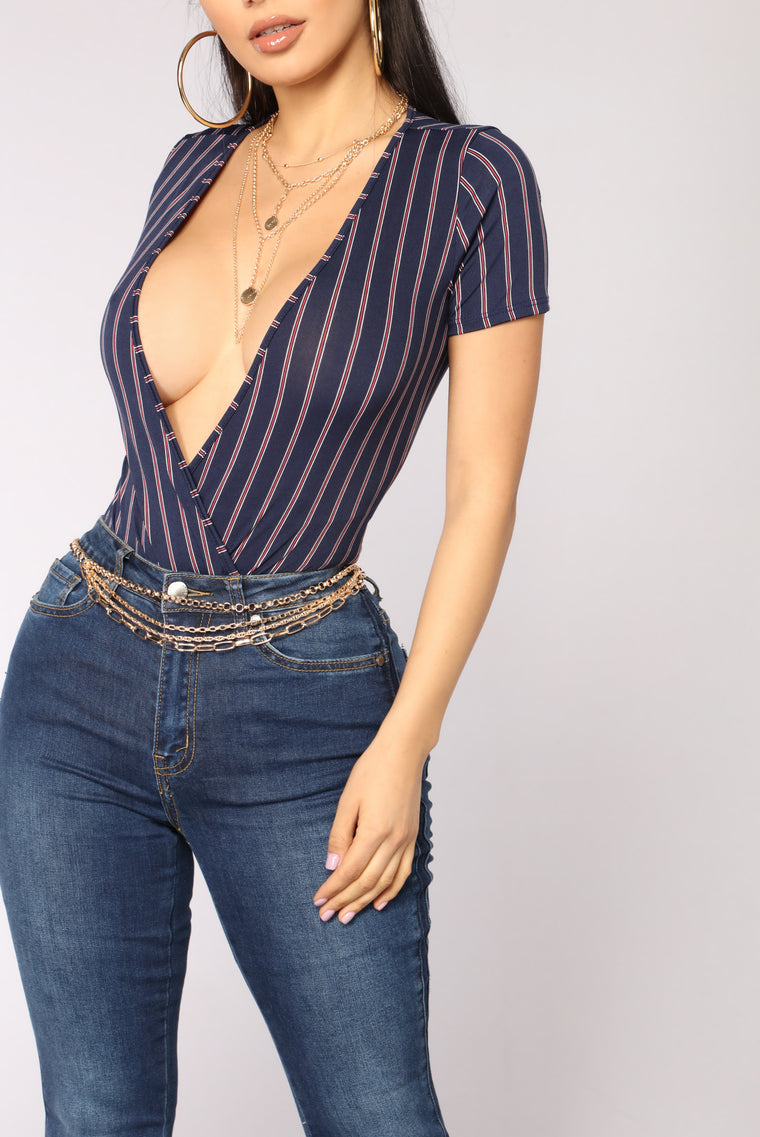 Warm Thoughts Striped Bodysuit - Navy