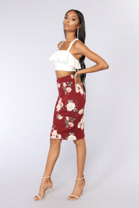 All The Right Places Skirt - Burgundy