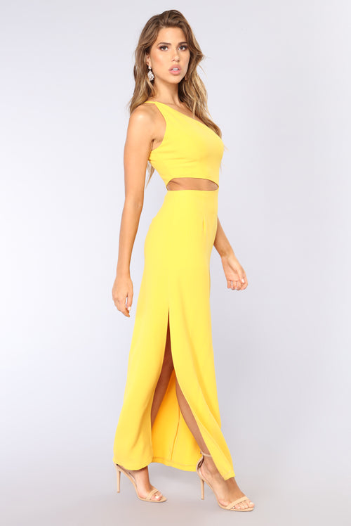 Tristan One Shoulder Dress - Yellow