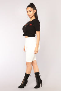 Only About Me Tee - Black/Red