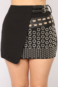 Eyelet You Be With Me Skirt - Black