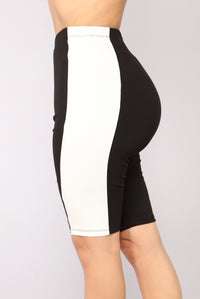 Ready Set Go Biker Shorts - Black/White