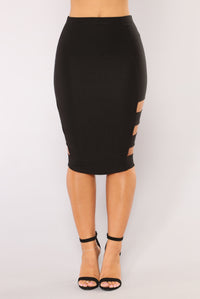 Side Piece Skirt - Black Angle 4