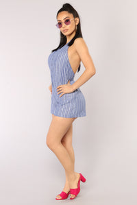 Cruise Line Stripe Romper - Blue