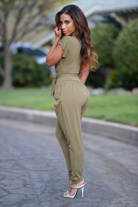 Thyme Jumpsuit - Olive Angle 2