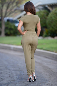 Thyme Jumpsuit - Olive Angle 3