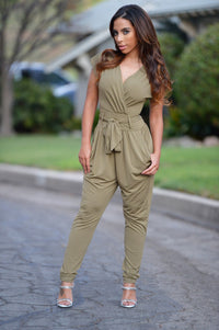 Thyme Jumpsuit - Olive Angle 1