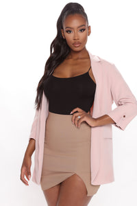 Back In Business Open Front Blazer - Pink Angle 1