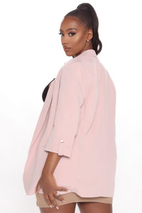 Back In Business Open Front Blazer - Pink Angle 3