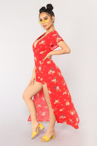 Blow Your Mind Romper - Red