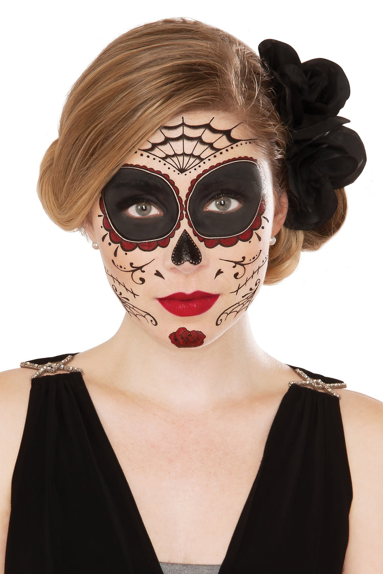 Classic Day Of The Dead Face Tattoo - White/combo