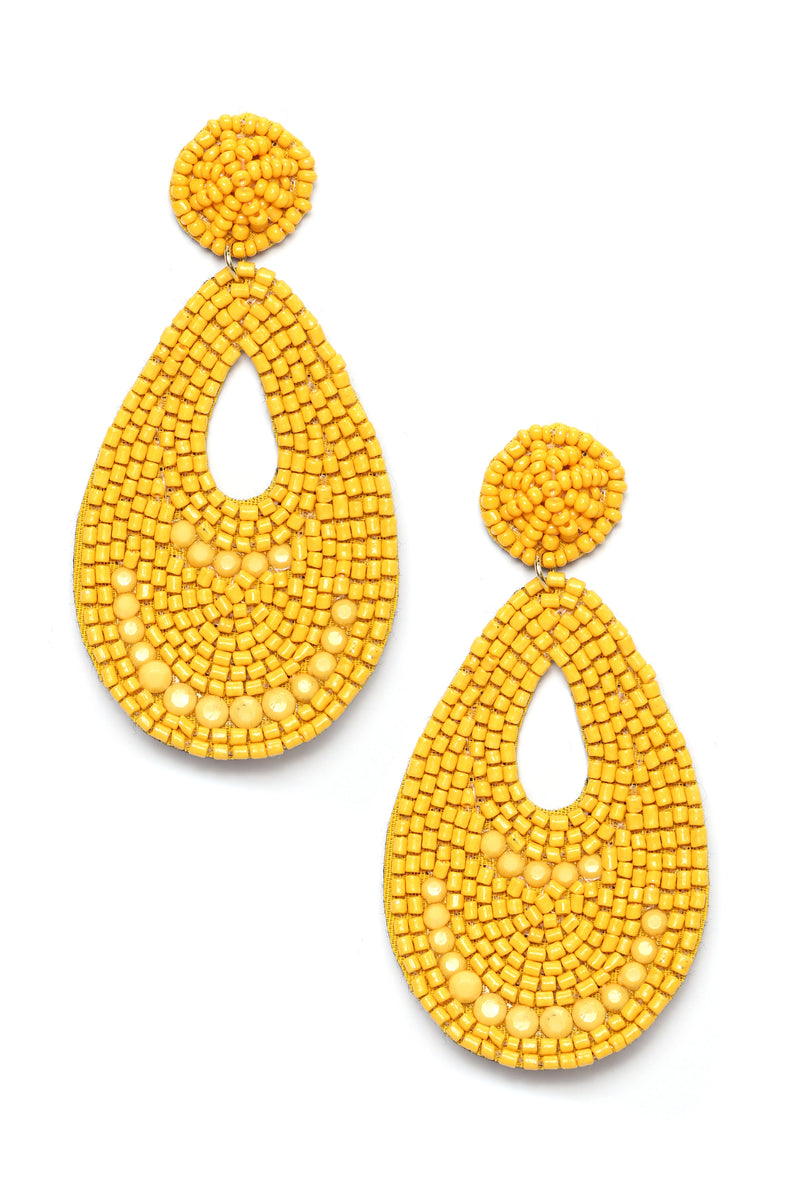 Bead The Trend Earrings - Mustard