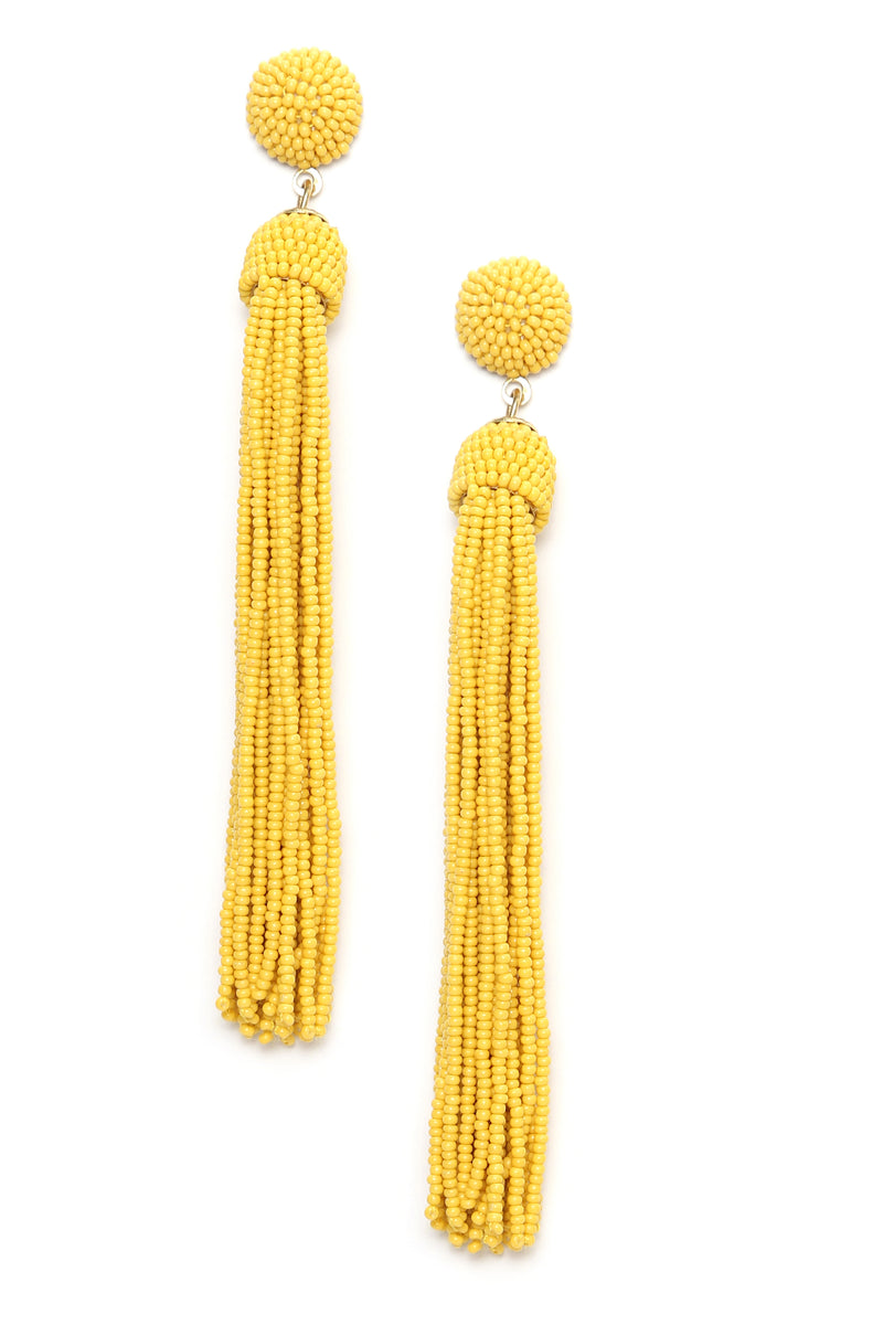 Beading The Game Earrings - Mustard