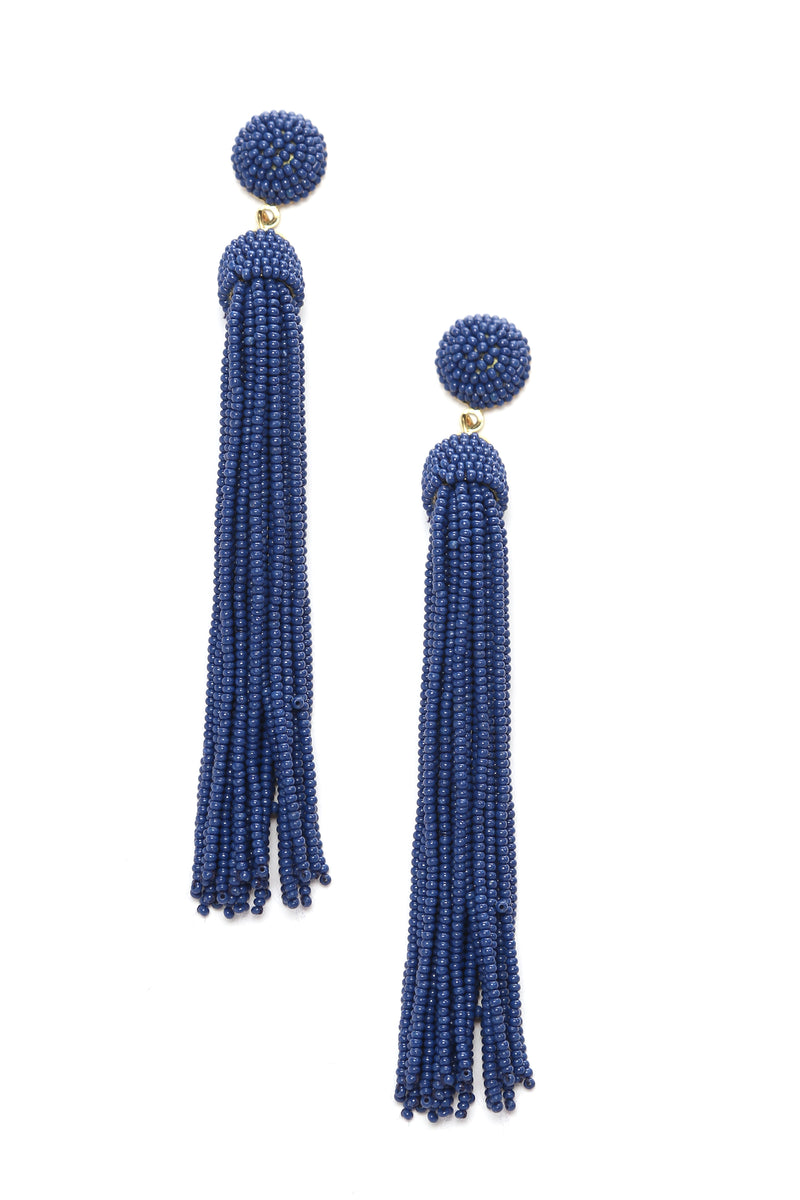 Beading The Game Earrings - Navy
