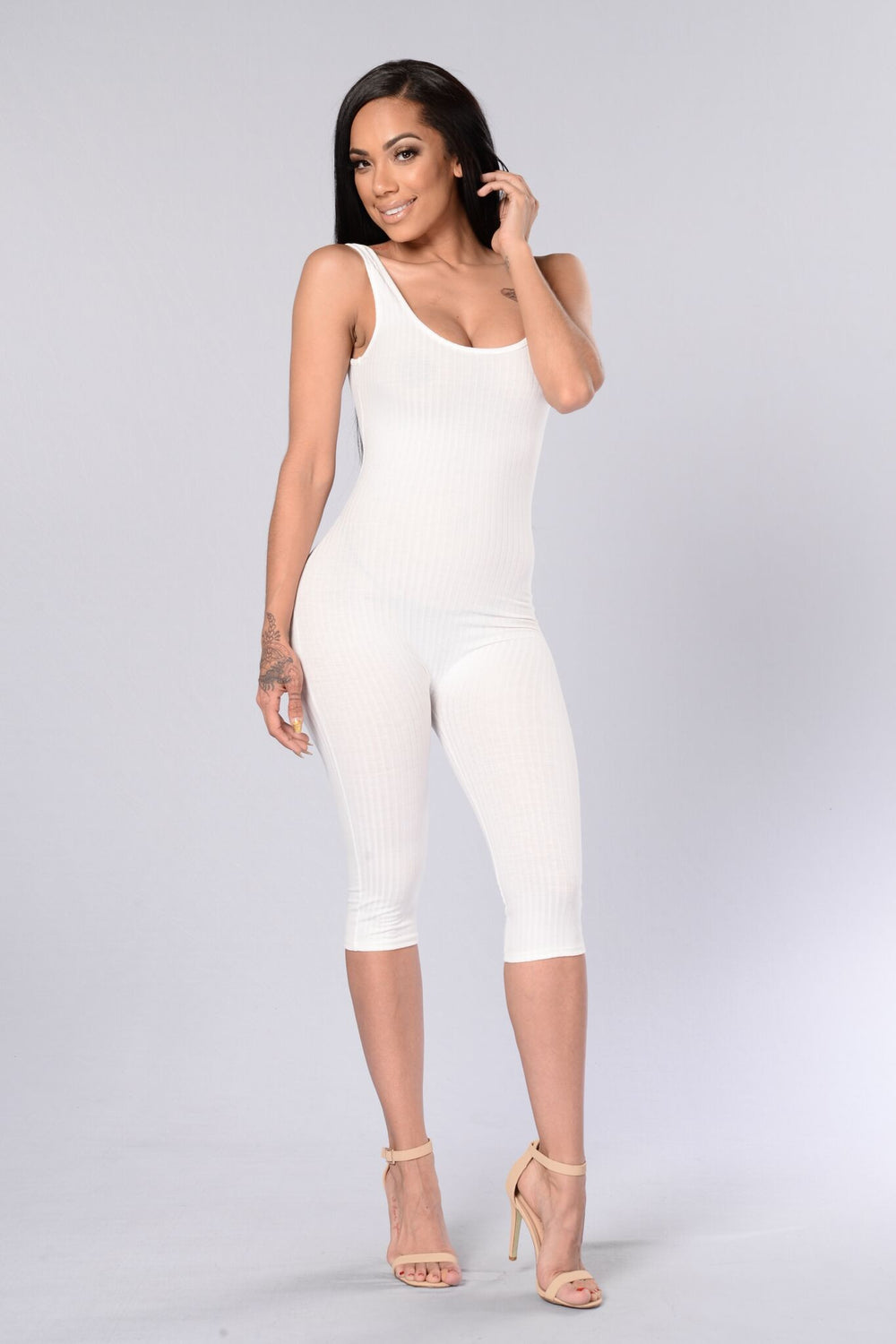 Ribbed Jumpsuit - White