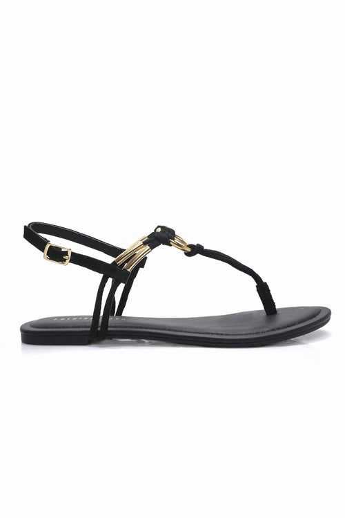 Ringing In Flat Sandal - Black